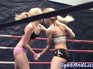 Lesbian beauties wrestling and pussyeating