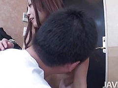 Big thick cock invades Kaede Sakura's mouth and furry muff making Kaede moan and groan in pleasure