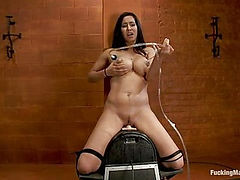 Isis Love <br> bound to the Sybian, squirting puddles