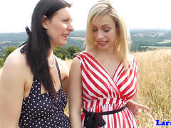 Euro MILF strapon fucked by busty blonde