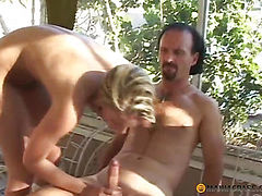 Guys fuck blonde in her hole