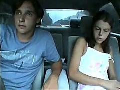 Teen sucks his dick in the car