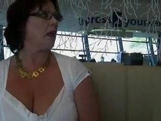My wife flashes her breasts and pussy at a restaurant
