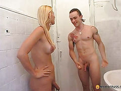 Blonde with a member taking a shower with a man