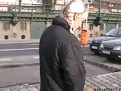 The girl at the bus stop pissing