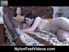 AprilB&EllenF hardcore nylon footsex
