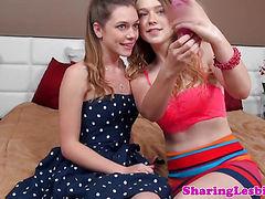 Lesbian latina and pals in teen threeway