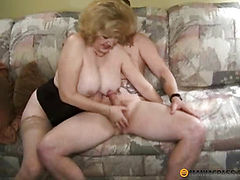 Blonde girl in corset fucks with guy