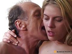 Cute blonde sucks dick guy