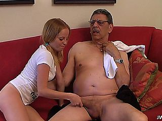 Grand Daughter Is Masturbating And Granddad Becomes Young Again, Seeing That