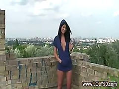 Brunette girl getting naked