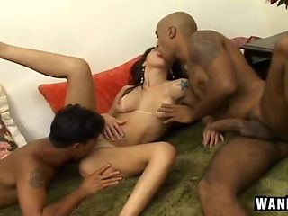 Gorgeous Latina Amateur in MMF Threesome
