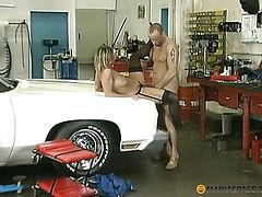 On the hood of his car fucks bitch