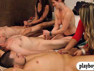 Group of horny swingers enjoy huge orgy in the bedroom