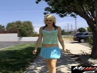 Dick craving blonde will do anything for her new handsome friend