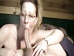 Mature With Glasses Gives Head