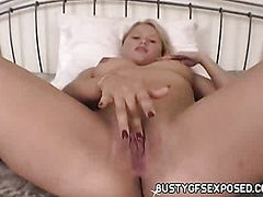 As soon as she was done rubbing her clitoris and toying her pussy with a big dildo, my amateur girlfriend got a taste of my huge dick in her cunt!