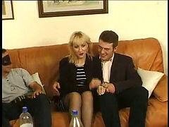 Young men gangbang a blonde housewife