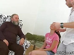 Old guy might not have a big cock, but he knows what to do with it