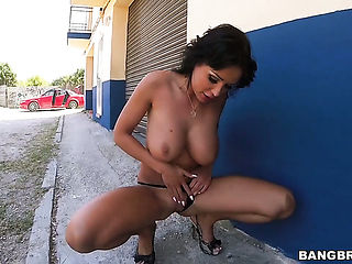 Brunette with round butt satisfies guys sexual needs and desires and then gets her nice face jizzed on