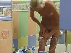 Teen girl bathing