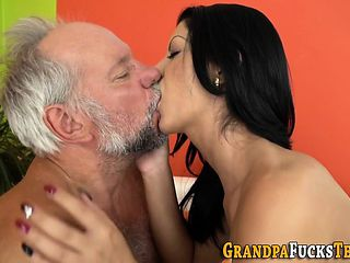 Brunette rides grandpa