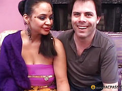 White guy squeezes her big breasts