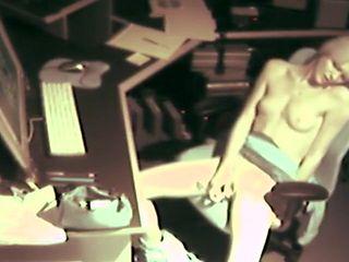 Hidden Voyeur Cam Catches Petite Blonde Masterbating at Work