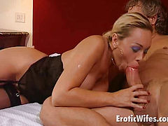 ponytailed blonde wife in stockings