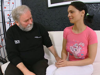 Perveted boyfriend allows one kinky old dude to fuck his young girlfriend