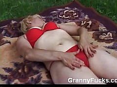Granny Gets Nasty with Dildo