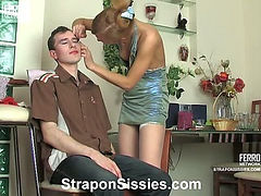 Emilia&Connor strapon pussyclothed sex action