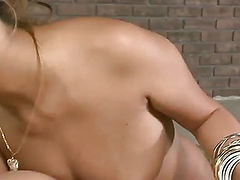 Sexy Hina Maeda takes on two hard cocks sucking and jerking them until they explode