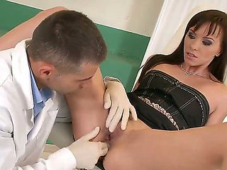 Dark haired Alysa Gap came at the doctor to stretch her tight asshole before hardcore fucking