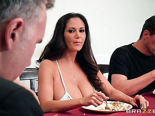 Brunette sweetie Ava Addams spends her sexual energy with Keiran Lees stiff meat stick in her mouth after she gets cornholded
