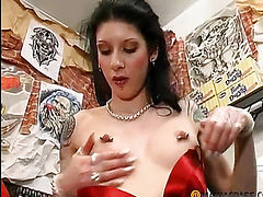 The girl is paying for the tattoo blowjob