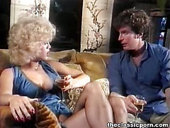Blonde in lingerie gets cum splash