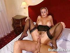 big boobed blondie wife in stockings