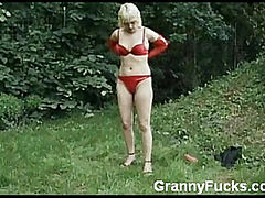 Granny in Lingerie Masturbates Outdoors