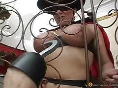 Girl sucks dick through the bars