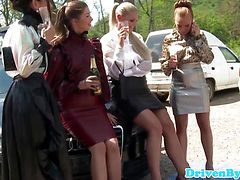 Closeup outdoor groupsex with pissing babes