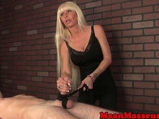 Mature Masseuse Wanks Blindfolded Client