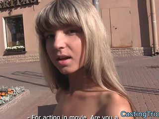 Petite teen banged and creamed at casting