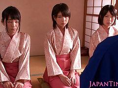 Petite femdom Japanese babes jump on dude