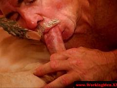 Dirty hairy biker getting cock sucked