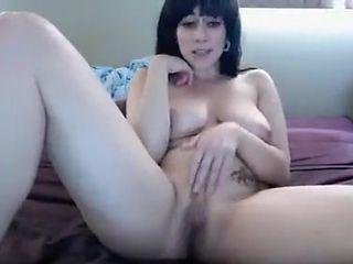 Home alone brunette slut teasing and having fun nude on livecam