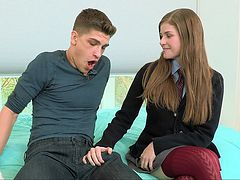 Lovely Lara was left home alone with her tutor