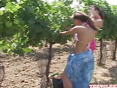 Lesbian Lena and Melisa kissing in the garden
