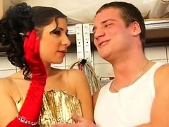 elegant brunette chick undressing and rubbing her cunt
