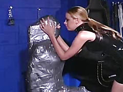 The girl in cellophane licking pussy